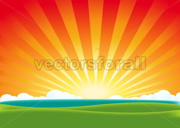 Summer Landscape - Vectorsforall