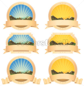 Summer Mountains Banner And Scroll Ribbons - Benchart's Shop