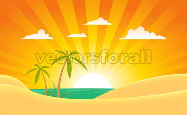 Summer Ocean Landscape Banner - Vectorsforall