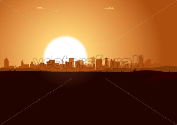 Sunrise Urban Landscape - Vectorsforall