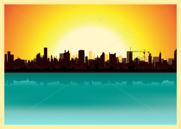 Sunset City Landscape - Vectorsforall