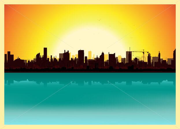 Sunset City Landscape - Vectorsforall