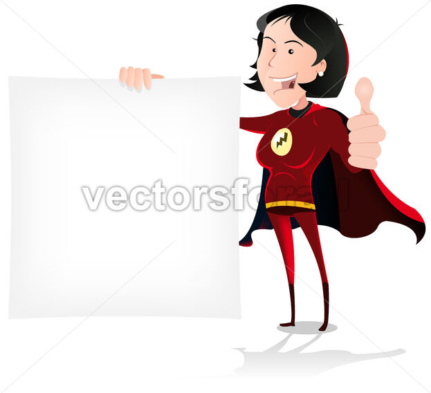 Super Girl Hero Holding White Sign - Vectorsforall