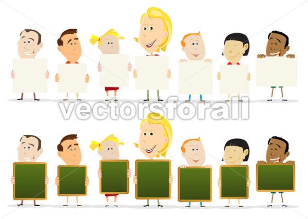 Teacher Woman With Children Classroom Holding Signs - Vectorsforall
