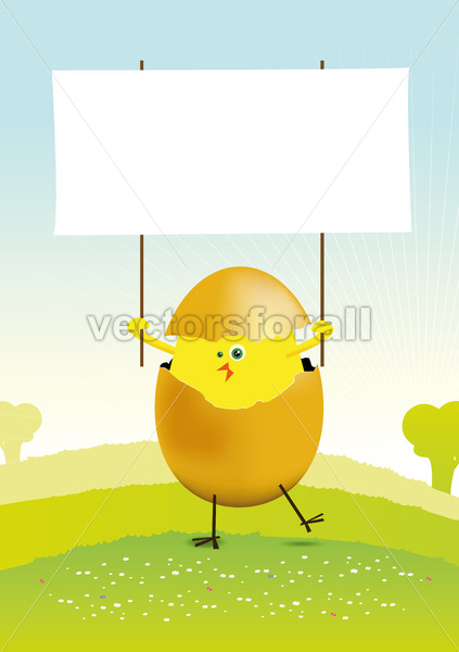 Tiny Easter Chicken in a spring landscape - Vectorsforall
