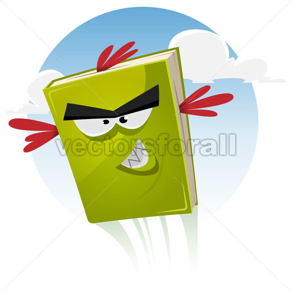 Toon Bird Book Character Flying - Vectorsforall