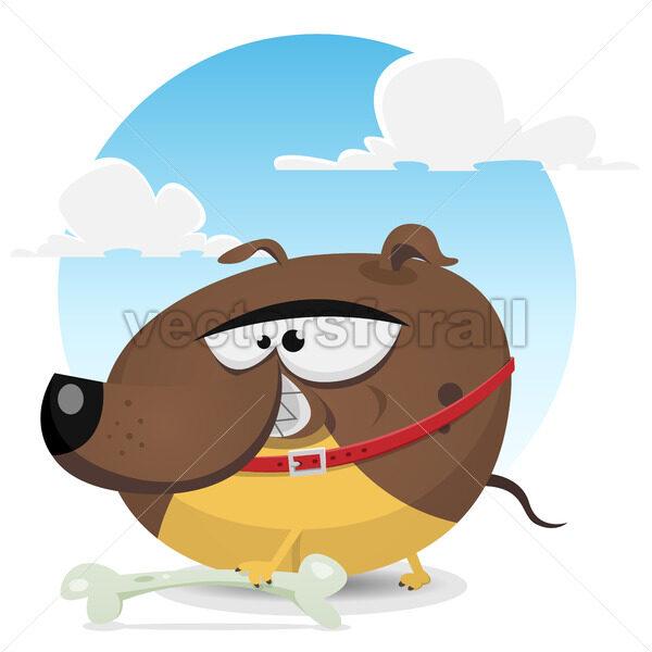 Toon Dog Catching A Bone - Vectorsforall