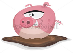 Toon Pig Wash In Pond Bath - Vectorsforall