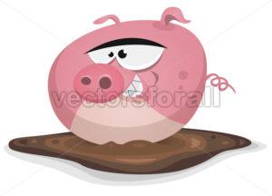 Toon Pig Wash In Pond Bath - Vectorsforall