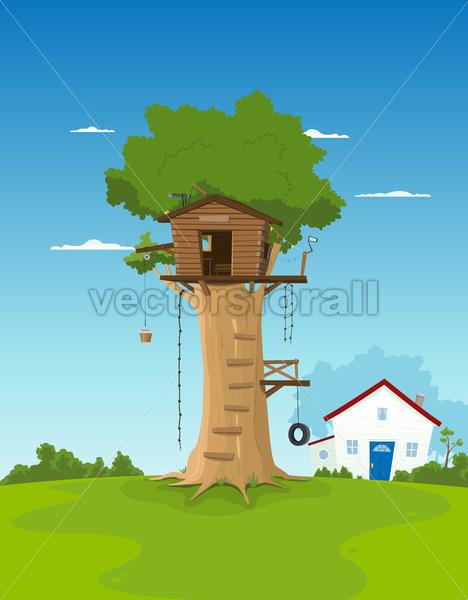 Tree House In Garden Backyard - Vectorsforall