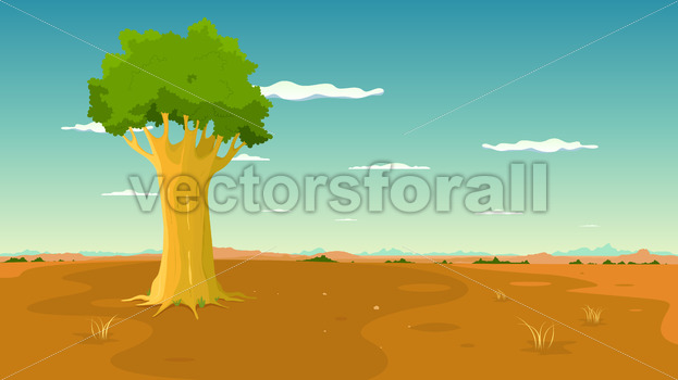 Tree Inside Wide Plain Landscape - Benchart's Shop