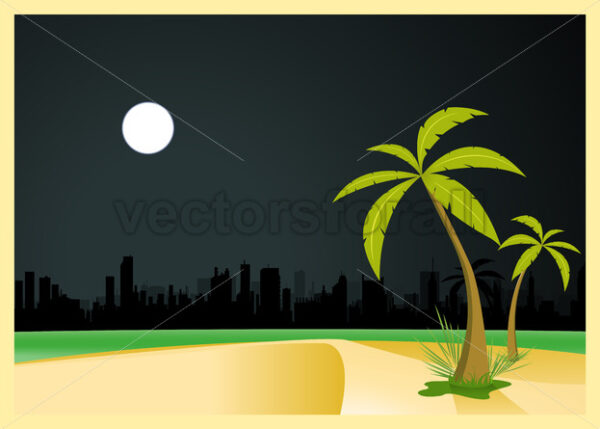Urban Beach By Night - Vectorsforall