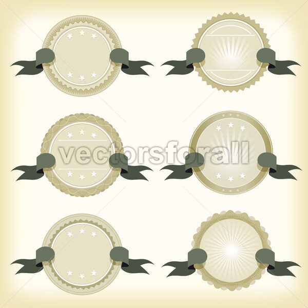Vintage Badges, Banners And Ribbons - Vectorsforall