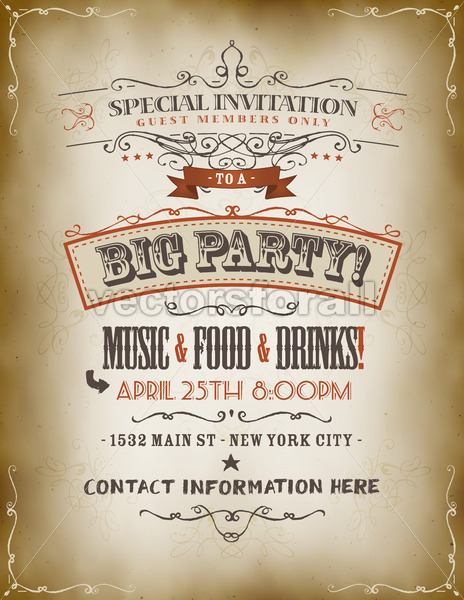 Vintage Big Party Invitation Poster - Vectorsforall