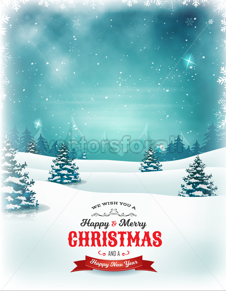 Vintage Christmas And New Year Landscape - Vectorsforall