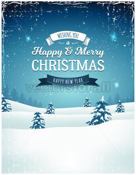 Vintage Christmas Landscape Background - Vectorsforall