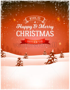 Vintage Christmas Landscape Background - Vectorsforall