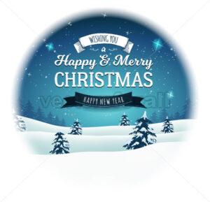 Vintage Christmas Landscape Snowball - Vectorsforall