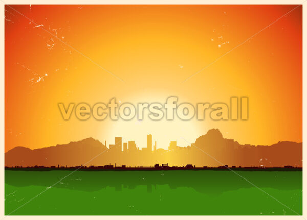 Vintage City In Mountains Landscape - Vectorsforall