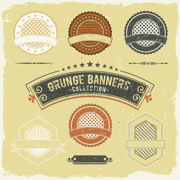 Vintage Grunge Banner And Labels Collection - Vectorsforall