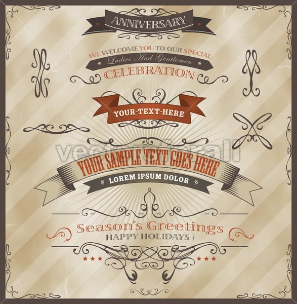Vintage Invitation And Season's Greetings - Vectorsforall