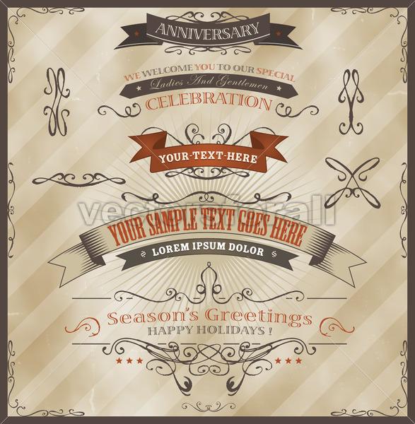 Vintage Invitation And Season's Greetings - Vectorsforall