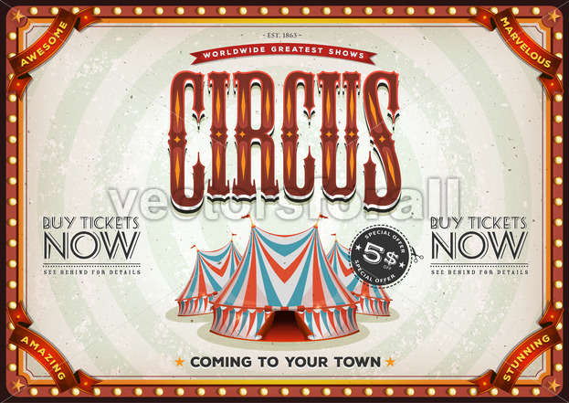 Vintage Old Circus Poster - Vectorsforall