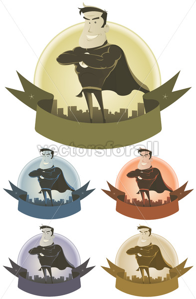 Vintage Superhero Security Banner - Vectorsforall