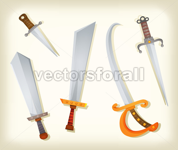 Vintage Swords, Knifes, broadsword And Saber Set - Vectorsforall