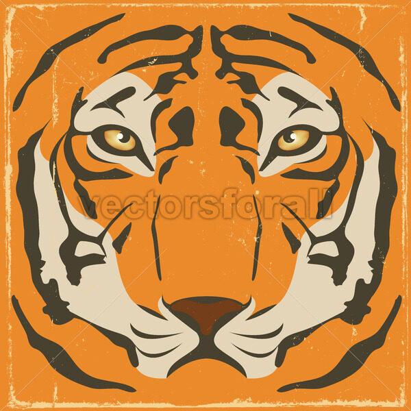 Vintage Tiger Stripes On Grunge Background - Vectorsforall