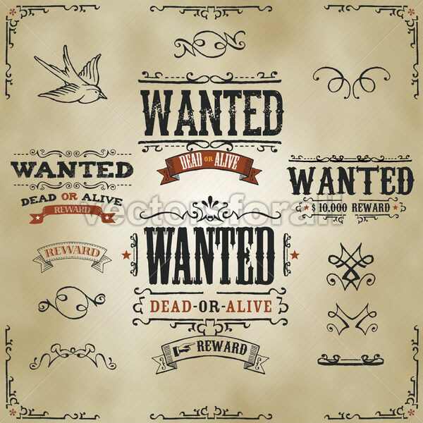 Wanted Vintage Western Banners - Vectorsforall