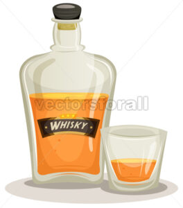Whisky Bottle And Glass - Vectorsforall