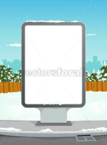 White Billboard On Winter Urban Background - Benchart's Shop
