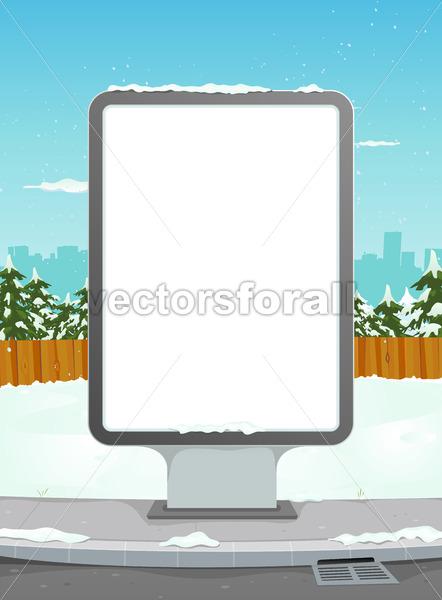 White Billboard On Winter Urban Background - Benchart's Shop