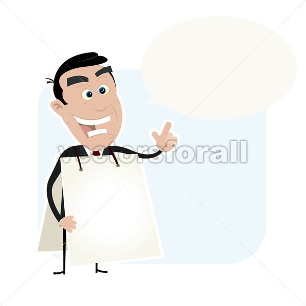 White Business Man Holding A Sandwich Board - Vectorsforall
