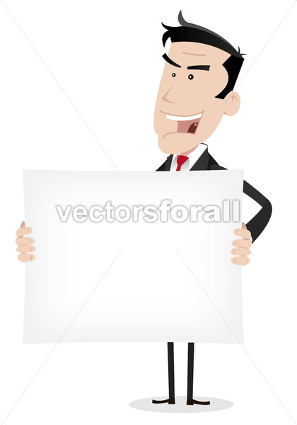 White Businessman Holding Advertising Message - Vectorsforall