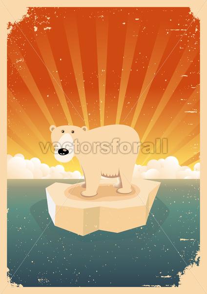 White Polar Bear Vintage Grunge Poster - Vectorsforall