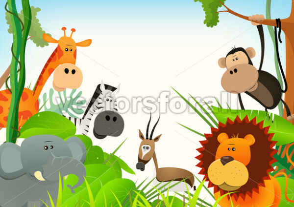 Wild Animals Postcard Background - Vectorsforall