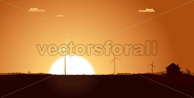 Windmills Inside Summer Landscape - Vectorsforall