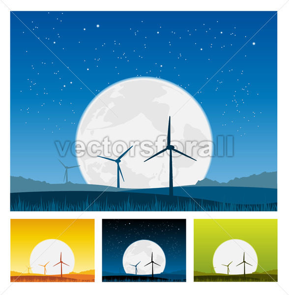 Windmills inside Landscape at Night - Benchart's Shop