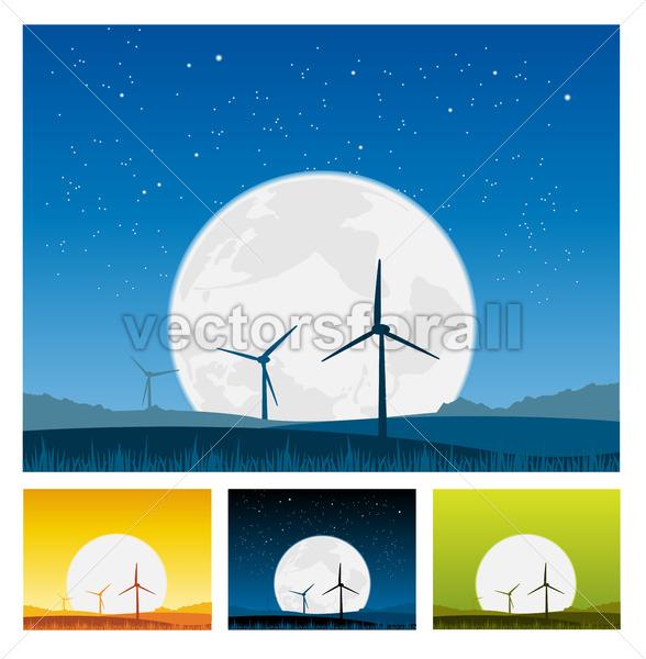 Windmills inside Landscape at Night - Vectorsforall