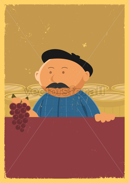 Winemaker Holding Grape Vine Poster - Benchart's Shop