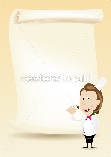 Woman Chef Restaurant Poster Menu background - Vectorsforall