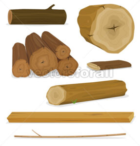 Wood Logs, Trunks And Planks Set - Vectorsforall