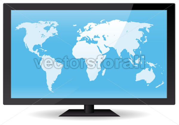 World Map On Flat Screen - Vectorsforall