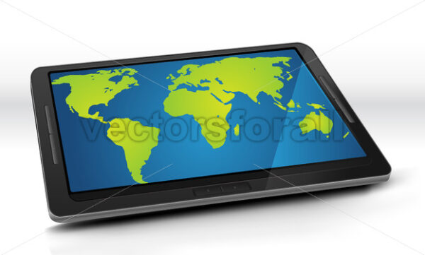 World Map On Tablet PC - Vectorsforall