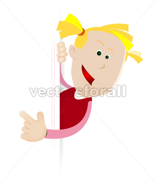 Young Girl Birthday On Blank Sign - Vectorsforall