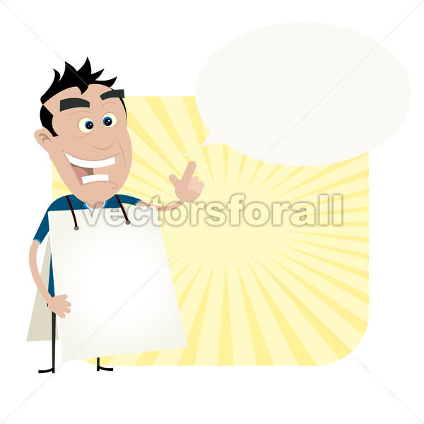 Young Man Holding A Sandwich Board - Vectorsforall