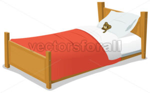 cartoon-bed-with-teddy-bear.eps - Benchart's Shop