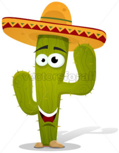 cartoon-cactus-with-sombrero-character.eps - Benchart's Shop